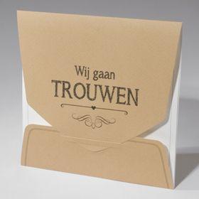 Trouwkaart in Kraft look met uitsparingen - trouwtrend najaar 2015