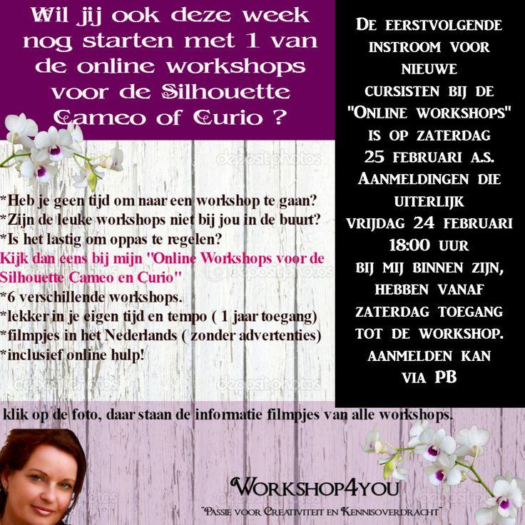 online workshops van Workshop4you. voor de silhouette Cameo of Curio. https://www.facebook.com/workshop4you/
