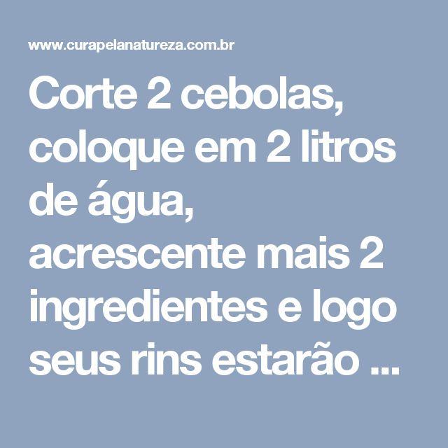 Corte 2 cebolas, coloque em 2 litros de água, acrescente mais 2 ingredientes e logo seus rins estarão completamente limpos! | Cura pela Natureza