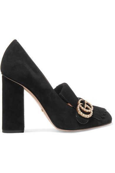 "Gucci gives its 'Marmont' pumps an ""evening soul"" by encrusting the burnished gold 'GG' plaque with Swarovski pearls. Topped with signature fringing, this pair has been made in Italy from soft black suede and set on a high block heel. We like them with a smart blazer and kick-flares."