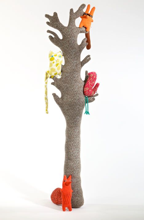 Donna Wilson knitted tree and creatures for the Stepney Green Design Collection