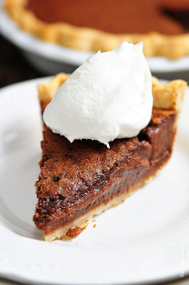 Chocolate Chess Pie Recipe from addapinch.com