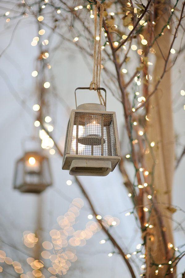 Lit Lanterns in trees:)