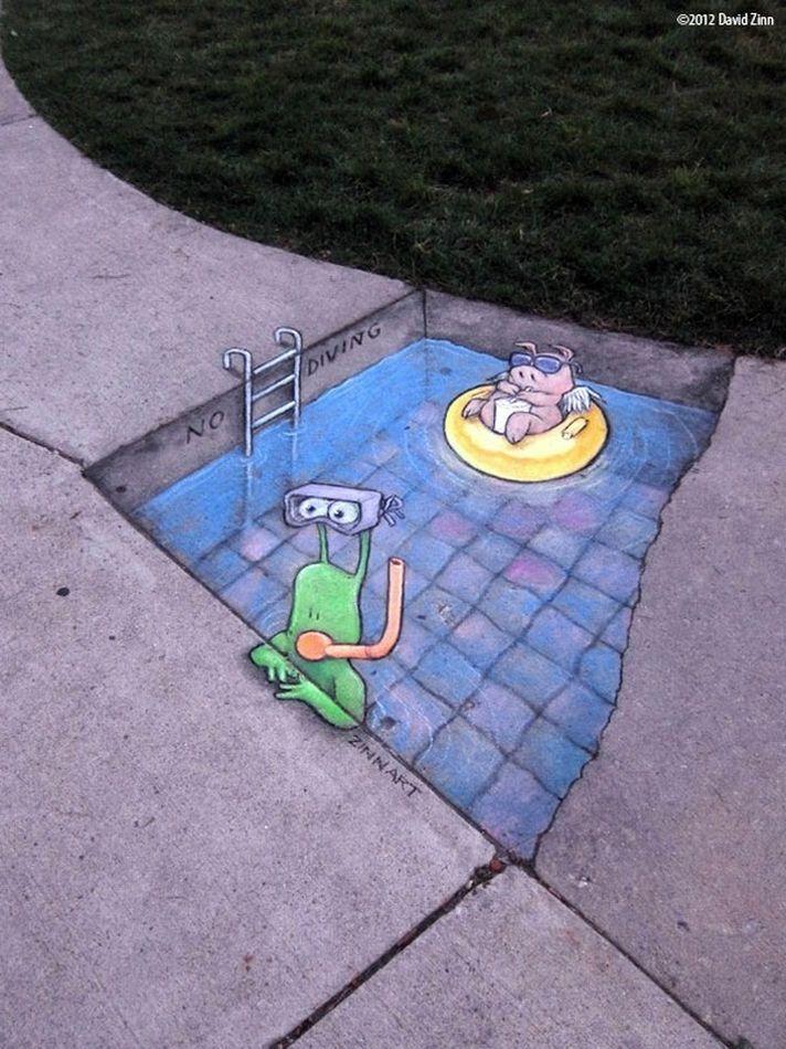artist David Zinn cute designs on the streets