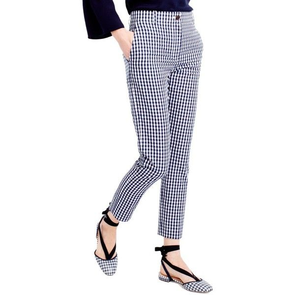 Women's J.crew Puckered Gingham Cigarette Pants (€91) ❤ liked on Polyvore featuring pants, cigarette trousers, tailored trousers, gingham pants, j crew trousers and white pants