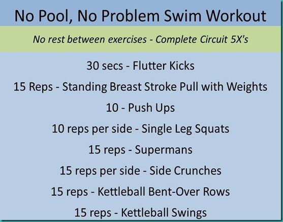 No pool, no problem!  Out of Pool Training