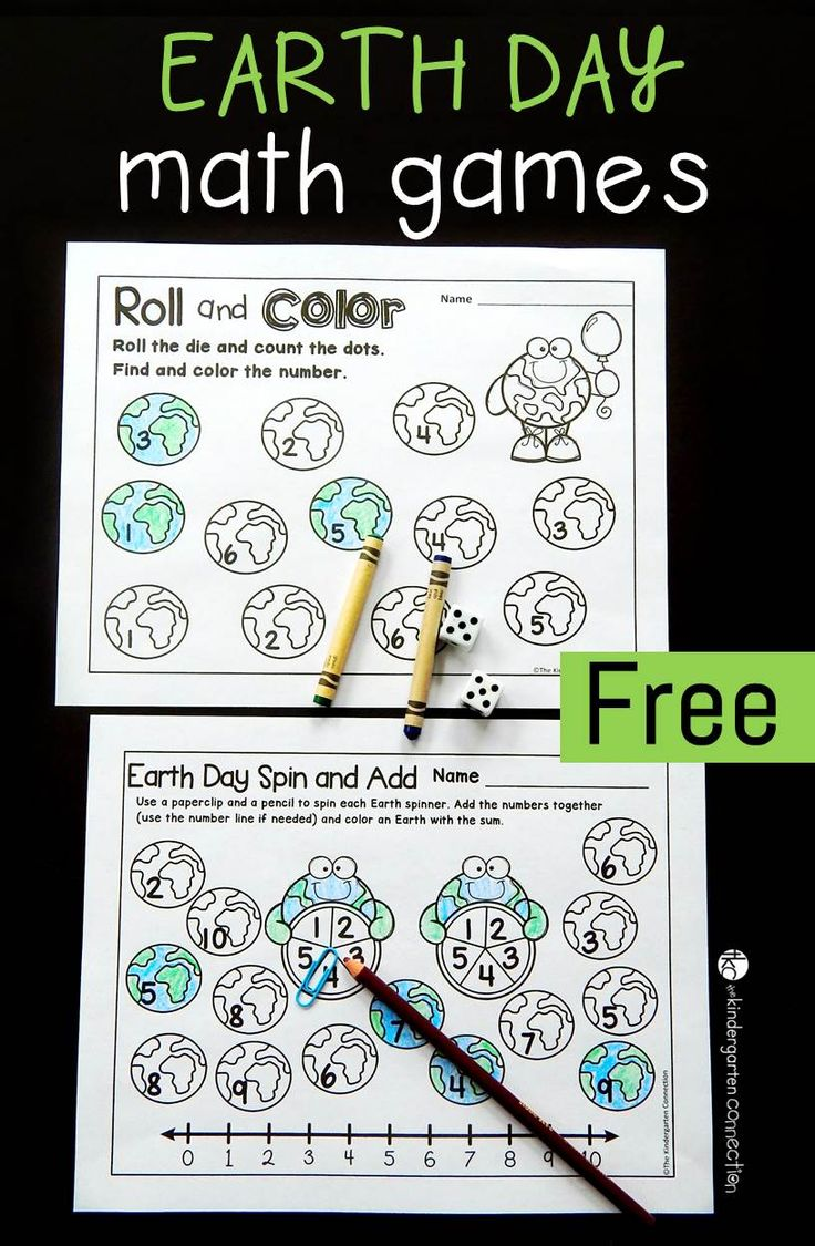 Color games for pre k - Free Printable Earth Day Math Games