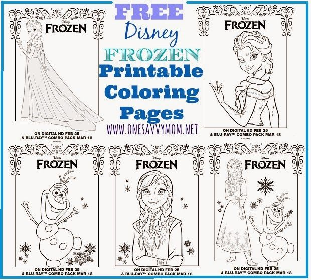 Disney Frozen Free Printable Anna, Elsa and Olaf Coloring Pages