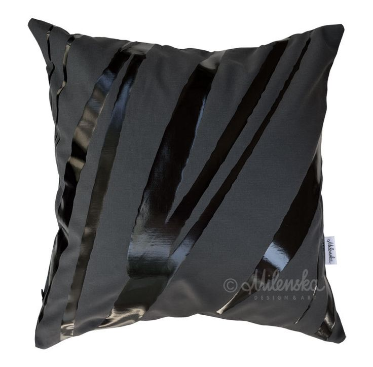 """I love Black - modern designer graphite pillowcase with black abstract glossy stripes, black cushion cover, available size 18x18"""" (45x45 cm) by Milenska on Etsy"""