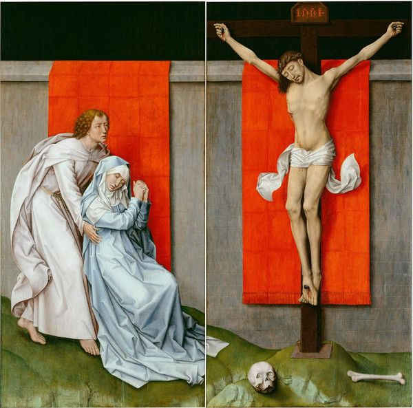 The Crucifixion, with the Virgin and Saint John the Evangelist Mourning, by Rogier van der Weyden, Netherlandish. Ca. 1460. On VintPrint.com. #religion #poster
