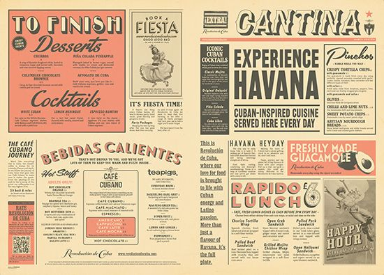Vintage Newspaper Menu Design, Graphic Design, Mexican & Cuban Style by www.diagramdesign.co.uk