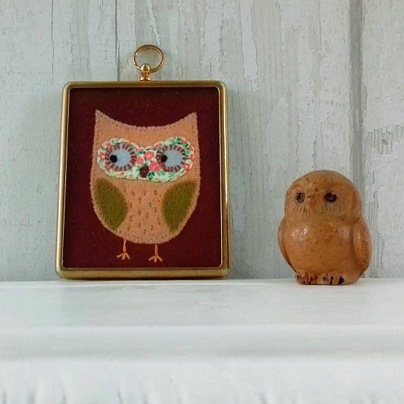 Olivia Owl  Cute Vintage Framed Embroidery