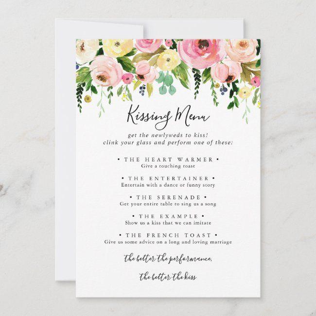 Tropical Colorful Wedding Kissing Menu Game Card Zazzle Com Wedding Reception Games Wedding Kiss Wedding Kissing Games
