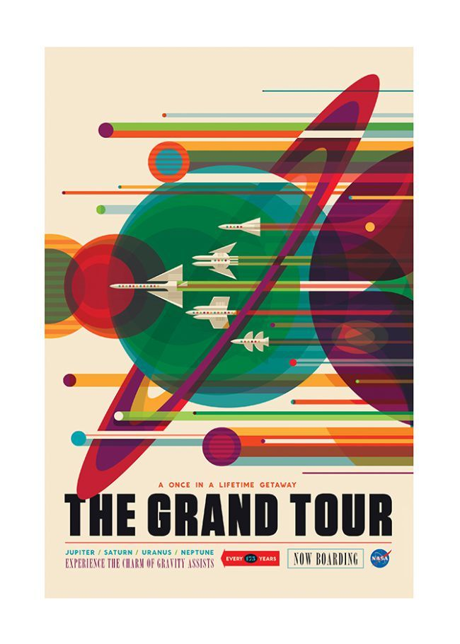 """NASA commissioned three beautiful posters advertising """"space tours"""" of Mars, Saturn and other planets in outer space."""
