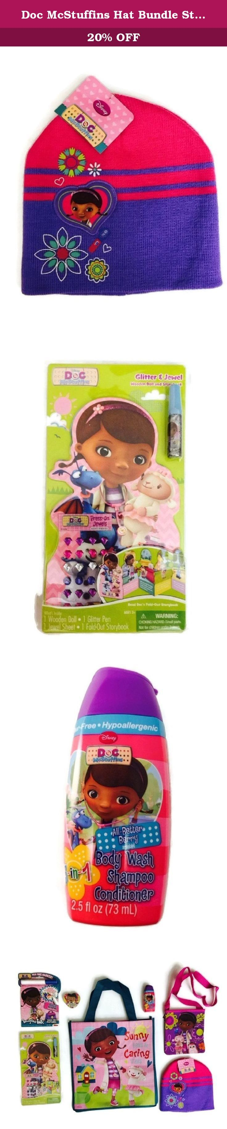 Doc McStuffins Hat Bundle Stocking Cap Disney Shampoo Purse Wooden Doll Storybook. This Doc McStuffins Hat Bundle has a lot of fun stuff. The Doc McStuffins Stocking Hat is one size fits all! The Disney Doc McStuffins 3 in 1 Body Wash, Shampoo & Conditioner is formulated to be mild and gentle enough to use everyday. Plus, the tear-free formula will leave hair clean, soft, manageable and smelling great, in the various Berry scents. The Glitter & Jewel Storybook has stories and activities…