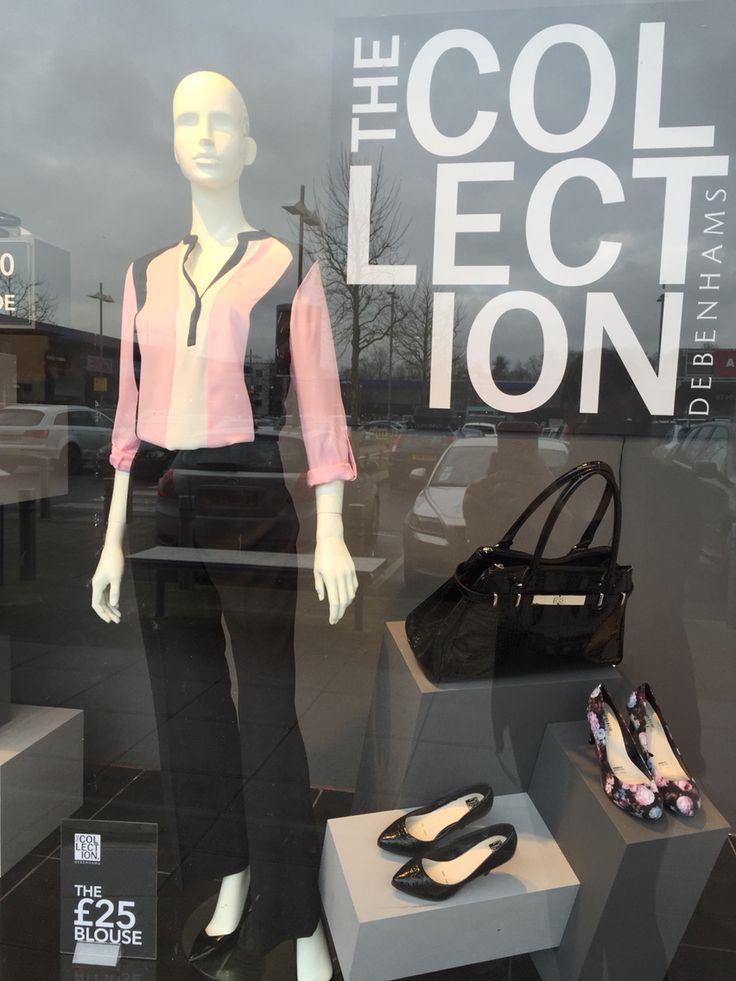 Debenhams Orpington #collection #newseason #visual #window #suiting #tailoring #debenhams #bags #shoes #debehamsOrpington #grey #pink #SS15 #pricepoints