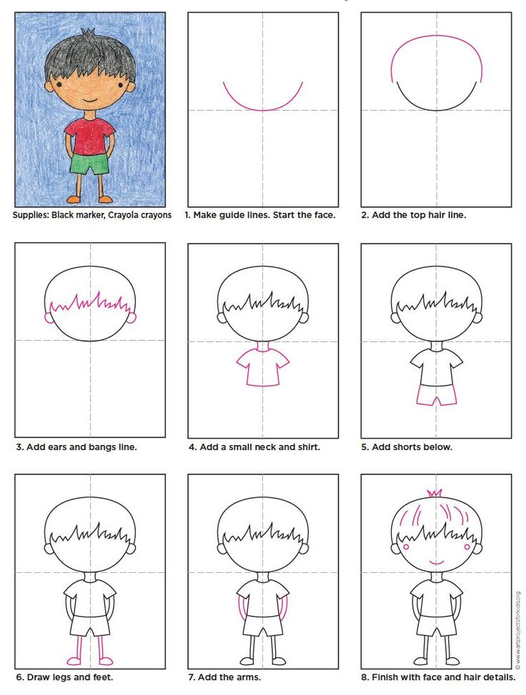 Draw a Cartoon Boy. Learn the basic shape and all kinds of variations are possible.