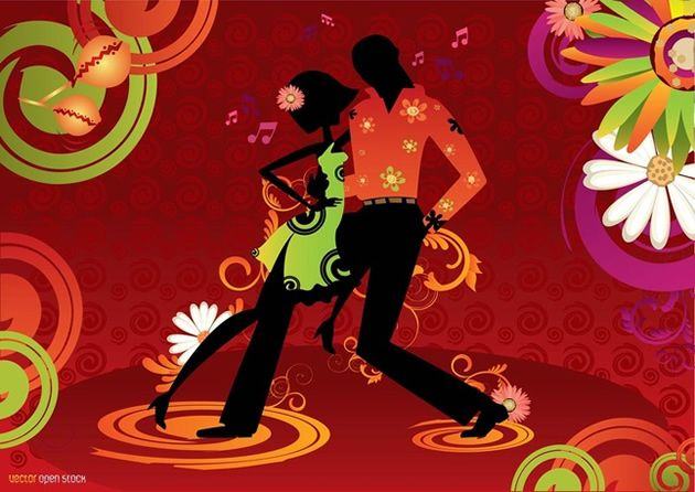 Salsa Dance Couple Vector Illustration