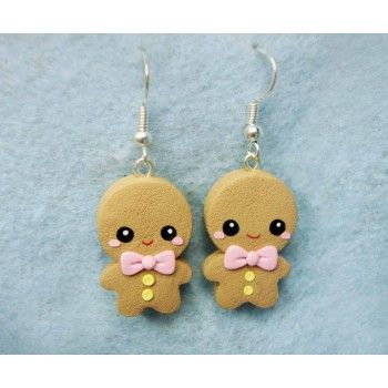 Gingerbread,fimo, handmade,hecho a mano,polymer clay,earrings,pendientes,srek, galleta de jengibre, cookie,