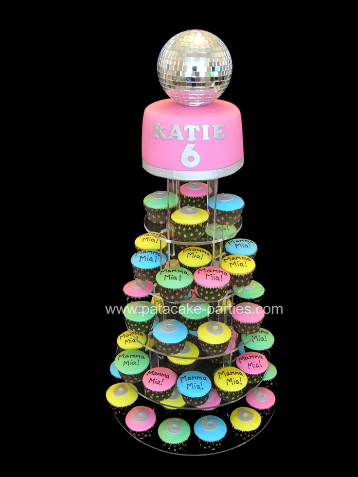 Mamma Mia Disco Cupcake Tower Display by Pat-a-Cake Parties