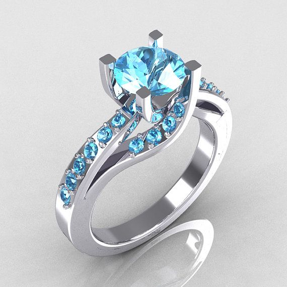 Modern Bridal 14K White Gold 10 Carat Aquamarine by artmasters, $1049.00