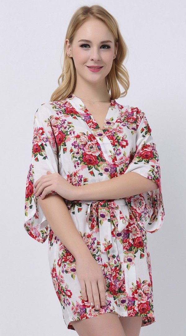 White Cotton Floral Bride Robes Inexpensive Bridesmaid Gifts Cute Robes BY