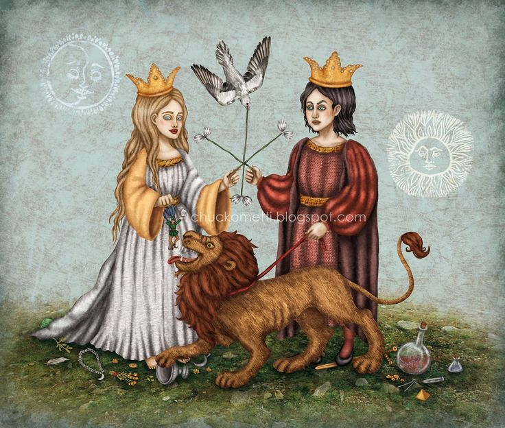 another illustration of the chemical wedding between the White Queen(mercury) and the Red King(sulphur)