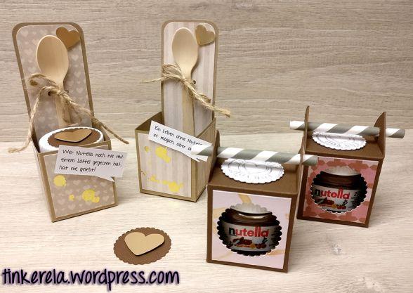 2 Mini Nutella Boxen Mit Anleitung Nutella Diy Geschenke Basteln Und Geschenke Basteln