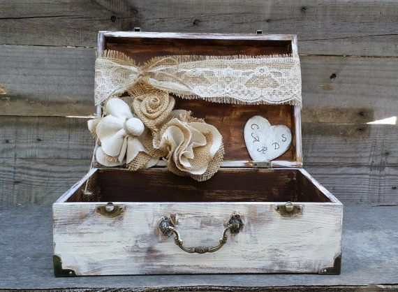 Rustic Wedding Card Box Personalized Box by LittleZebrasBoutique, $45.50