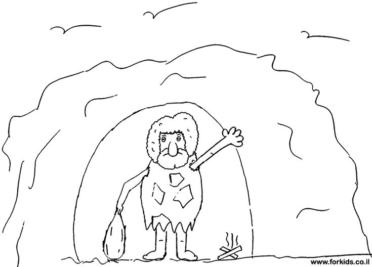 cave man cave coloring pages   coloring page of CaveMan   www.Forkids.co.il Coloring ...