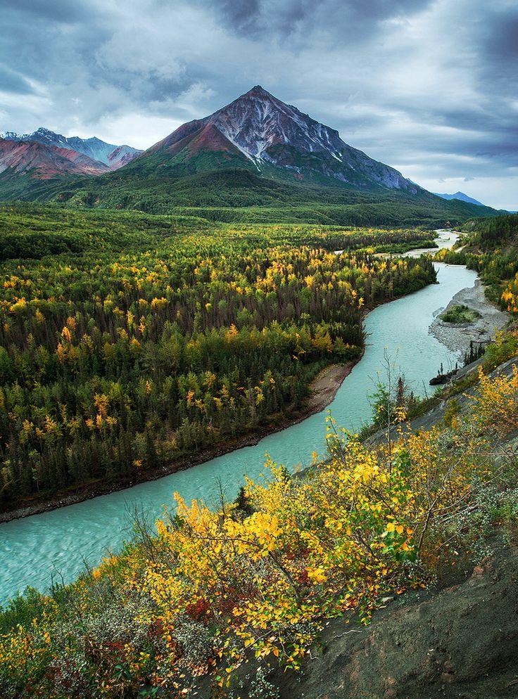 "You'll see this gorgeous scene on the Glenn Highway near Palmer, #Alaska. ""King Mountain and Matanuska River in Alaska, USA (by Joe Ganster)"""