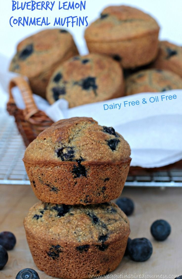 Blueberry Lemon Cornmeal Muffins - Dairy Free, Oil Free, Vegan. Hearty ...