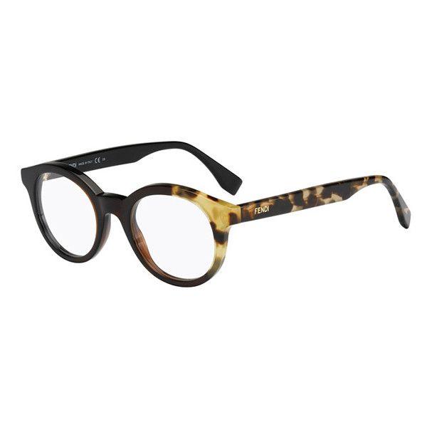 Fendi FF 0067 BY THE WAY MXU Eyeglasses ($230) ❤ liked on Polyvore featuring women's fashion, accessories, eyewear, eyeglasses, black honey havana, fendi glasses, fendi, fendi eyewear, fendi eyeglasses and black eye glasses