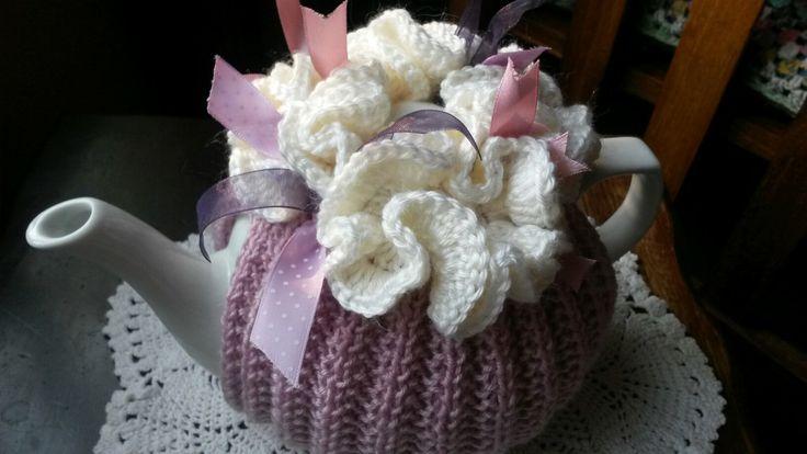 Pink ribbons tea cosie