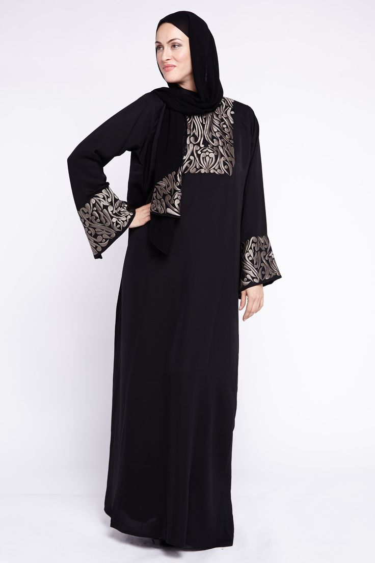Beautiful rich quad embroidered abaya from o3bay in classic black fabric.This abaya has detailed embroidery work on the front and sleeves. Its contrast of black and silver make it a truly nice and elegant abaya. Perfect abaya for Eid or wedding occasions.