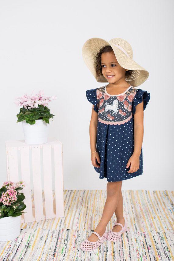 Licorne print pois robe enfant en bas âge filles Supayana
