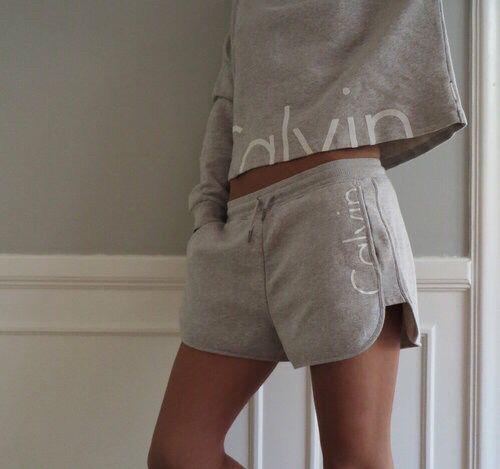 Calvin Klein Light Grey Shorts and Matching Top