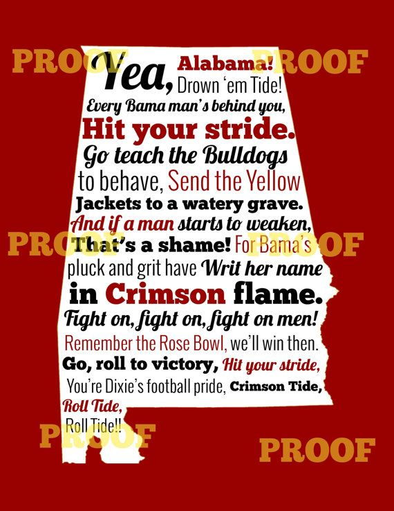 Alabama Fight Song in State of Alabama Outline with Solid Red Background