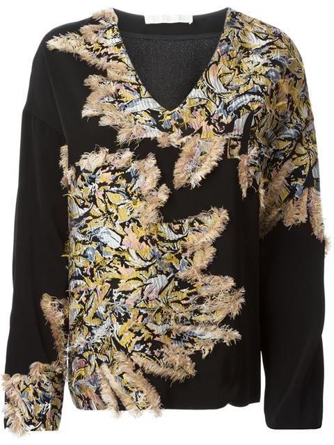 Shop Chloé fluffy detail v-neck sweater in Smets  Chloé - pres spring 2015 - SMETS