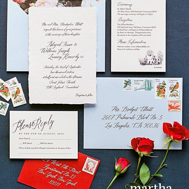 Hard to believe it's been almost a year since this wedding with #oddmomout star Abby Elliott! Featured on the pages and COVER of @martha_weddings earlier this year 😍 Classic handmade paper wedding invitations with calligraphy  #Regram via @tiethatbinds