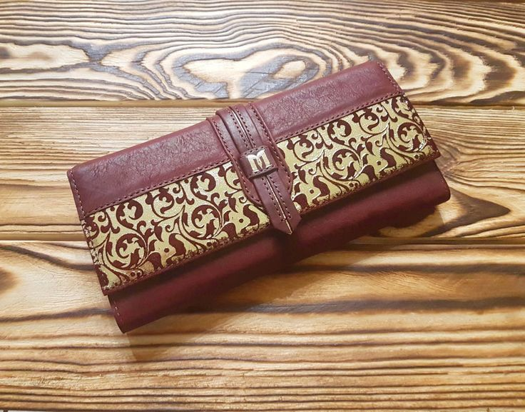 Genuine Leather Women Wallet Gold Brown Hand Tooled Money Clips Card Holder  #MakeyStudio