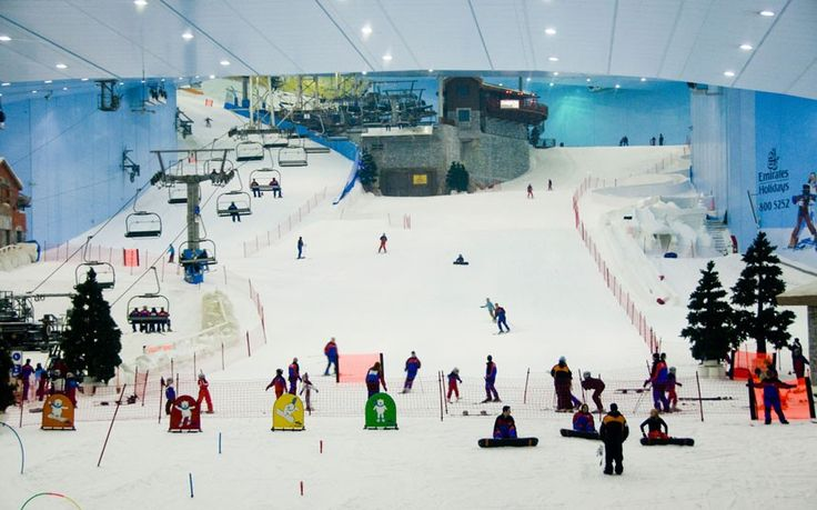 "Dubai Dubai's indoor ski resort is part of the sprawling Mall of the Emirates and covers 22,500 square metres. It opened in 2005, and features a 60-metre ""mountain"", five slopes of varying difficulty - including the world's first indoor black run - and a handful of kickers and rails. The adjacent Snow Park has sled and toboggan runs and a climbing tower. See www.skidxb.com Picture: ALAMY"