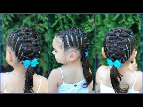 Peinado para niñas fáciles y rápidos de hacer con ligas cruzadas a lado y lado LPH - YouTube