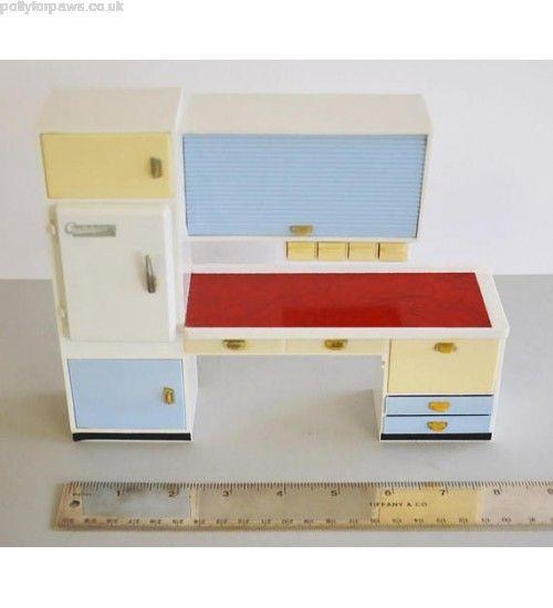 Buy Top quality 1950 Vintage Dollhouse CRAILESHEIMER Mid-Century Modern Furniture Kitchen COUNTER Refrigerator Cabinet Drawers Brio Bodo Hennig Lundby Hanse