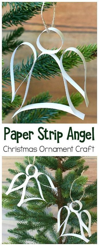 Paper Strip Angel Ornament Christmas Craft (with Free Template