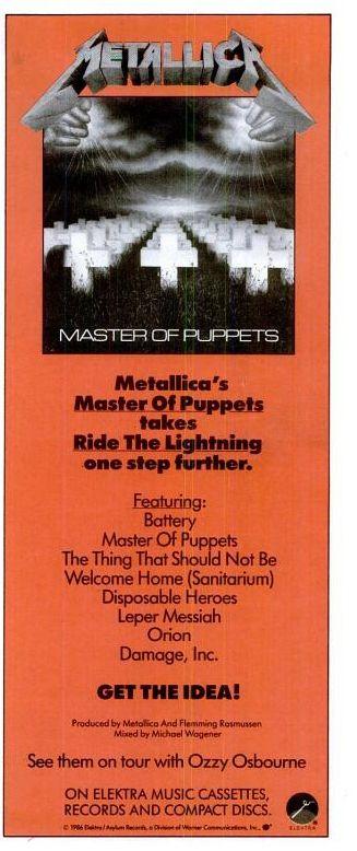 "Metallica, ""Master of Puppets"" [1986] | 58 Vintage Ads For Alt-Rock Classics"