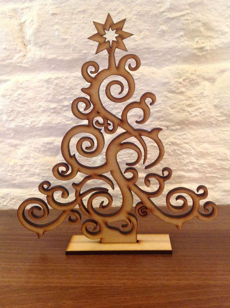 Set Of 2 Laser Cut Christmas Tree Decoration Gift Xmas Plain Wood Craft Shape