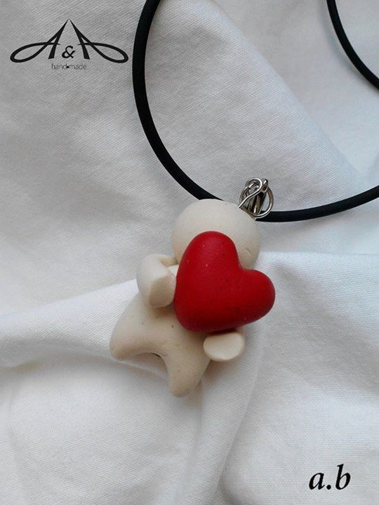polymer clay necklace   little heart man   jewelry