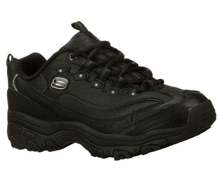 76432 Ew Wide Width Black D'Lite Skechers Shoe Women Work Leather Slip Resistant