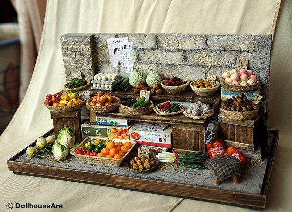 Vintage Street Shop-The alley Vegetable stalls-handmade Dollhouse Miniatures. $429.00, via Etsy.
